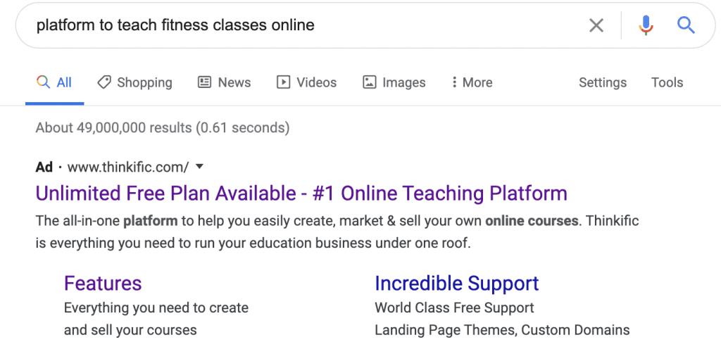 Thinkific Online Ads